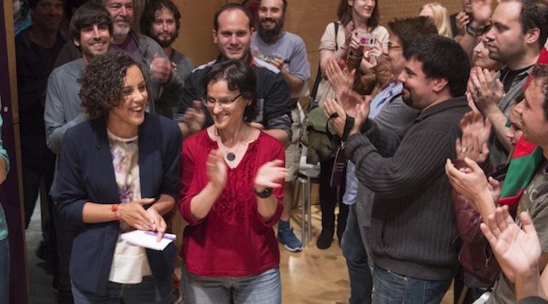 Nagua Alba, secretaria general de Podemos Euskadi, junto a otros miembros de la formación. (Monika DEL VALLE/ARGAZKI PRESS)