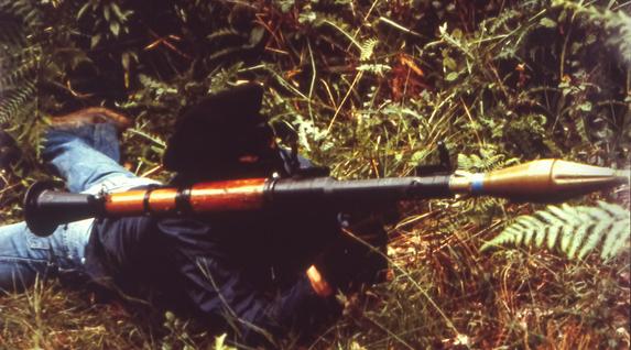 ETAren entrenamenduetako bat basoan, 90. hamarkadaren hasieran.